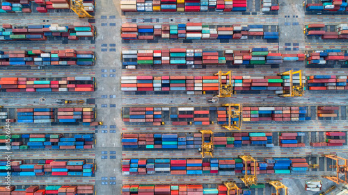 Aluminium Thailand container,container ship in import export and business logistic,By crane,Trade Port , Shipping,cargo to harbor.Aerial view,Water transport,International,Shell Marine,transportation,logistic,trade,port