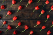 Frame made of red tulips on dark wooden background