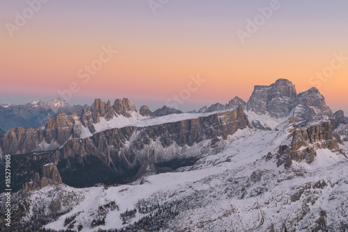 Foto op Aluminium Zalm Sfumature al tramonto presso le dolomiti bellunesi