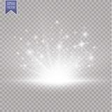 Fototapety Glow light effect. Starburst with sparkles on transparent background. Vector illustration. Sun