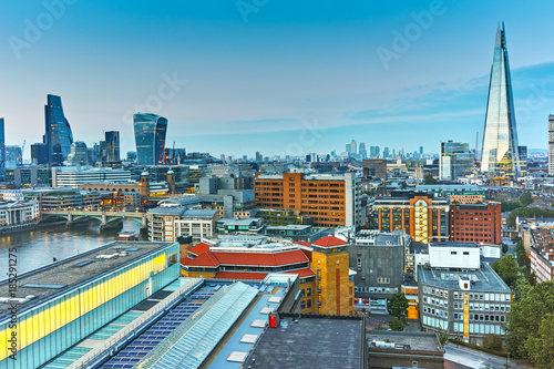 Foto op Aluminium Londen Amazing Sunset panorama from Tate modern Gallery to city of London, England, Great Britain