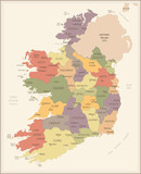 Ireland - vintage map and flag - Detailed Vector Illustration