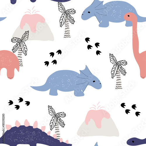 Cute seamless pattern with dinosaurs. Vector hand drawn illustration. - 185310280
