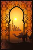 Camel riders in the desert near Dubai city in the arabesque frame