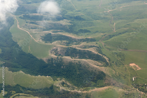 Fotobehang Khaki Landscape of the summer Crimea from the height of aircraft