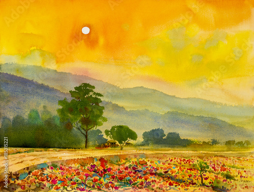 Poster Oranje Painting colorful of home with sun in evening