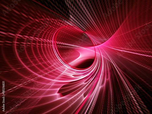Fotobehang Abstract wave Abstract red and black background texture. Dynamic lines and halftone effects pattern. Detailed fractal graphics. Science and technology concept.