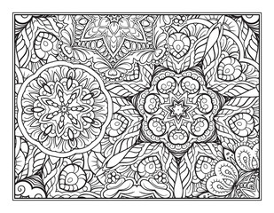 Black and white ethnic pattern coloring page