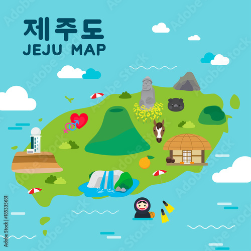 Fotobehang Turkoois Jeju island Travel map vector illustration, Attractions in flat design. Korean character is