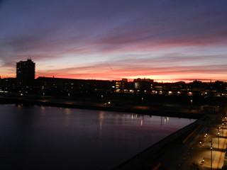 sunset in Nordhavn, Copenhagen, Denmark