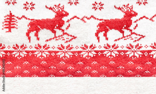 Close up of Christmas Sweater Design. Traditional scandinavian pattern. - 185342692