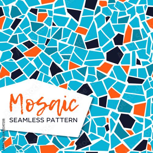 Jaskrawa abstrakcjonistyczna mozaika bezszwowy wzór. Tło wektor. Niekończąca się tekstura. Fragmenty płytek ceramicznych.