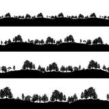 Forest trees silhouettes backgrounds set