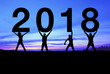 Silhouette people happy for 2018 new year.