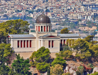 Athens Greece, the national observatory neoclassical building on Nymphs hill