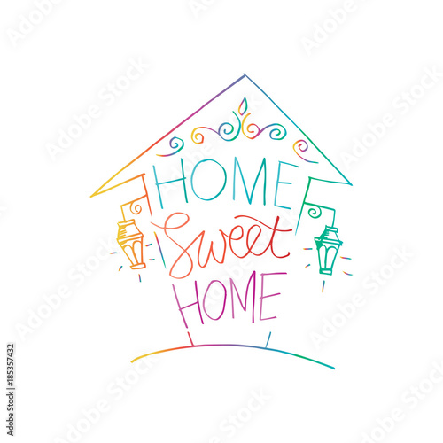Plakát Home sweet home postcard. Hand drawing illustration.