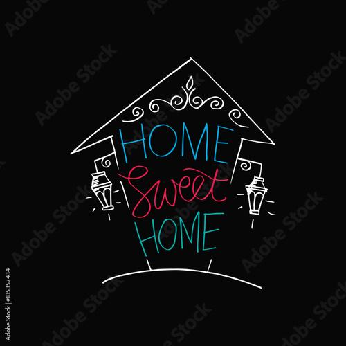 Plakát Home sweet home postcard. Hand drawing illustration.