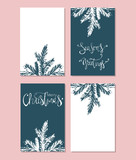 Set of Abstract Hand Drawn Universal brush Cards. Happy Holidays Christmas vector graphic background. Vector illustration - 185357819