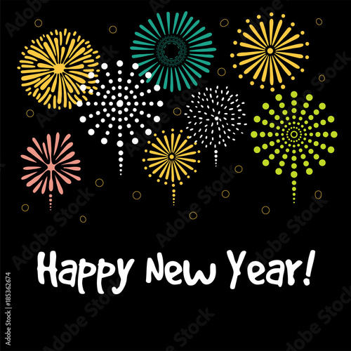 hand drawn happy new year greeting card banner template with typography fireworks isolated