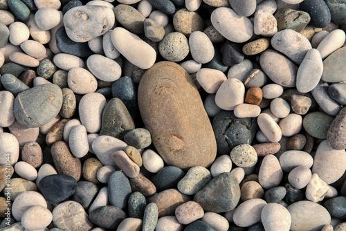 Foto op Canvas Zen Beach stones background. Top view.
