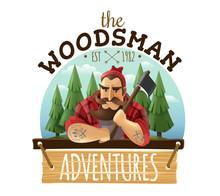 Lumberjack Woodsman Adventures  Logo Icon  Sticker