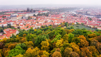 View over Prague from Petrin Hill in autumn