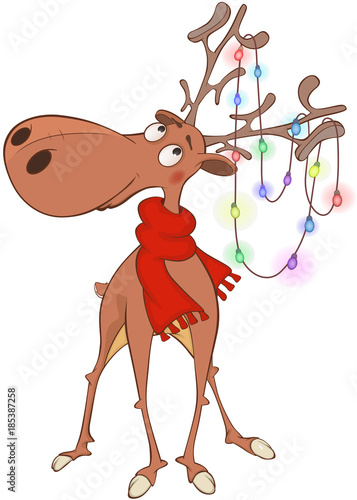 Plexiglas Babykamer Illustration of Christmas Deer Cartoon Character