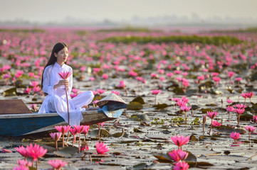 Beautiful  woman with Vietnam culture traditional dress,vintage style,Vietnam