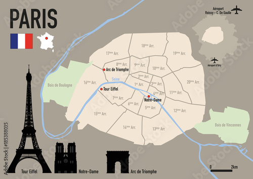 Poster Paris - plan de Paris - Carte - ville - arrondissement - France - Tour Eiffel