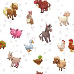 Seamless pattern with funny cartoon farm animals © lilu330