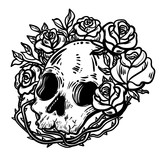 Line art illustration. Scary skull and flowers. Vintage print for St. Valentine s Day. Sketch for tattoo, hipster t-shirt design, vintage style posters. - 185394033