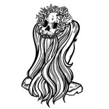 Line art illustration. Scary skull and flowers. Lady Death. Sketch for tattoo, hipster t-shirt design, vintage style posters. - 185394041