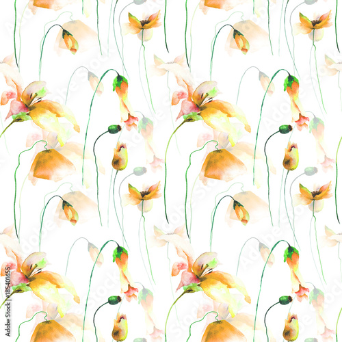 Seamless wallpaper with Lily, Poppy and Tulips - 185401655