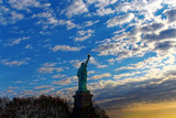 Statue of Liberty New York City back view at dusk or dawn