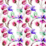 Seamless wallpaper with Tulips and Gerbera flowers