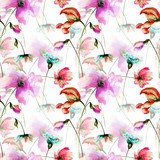Seamless pattern with Colorful wild flowers