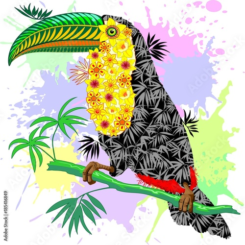 Keuken foto achterwand Draw Toucan Floral Pattern Wild Bird from Amazon Rainforest