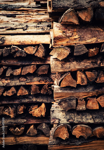 Poster Brandhout textuur pile of wood for the winter