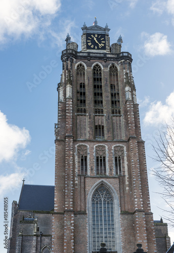 Foto op Aluminium Schip tower of the big church dordrecht