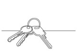 one line drawing of isolated vector object - keys - 185428616