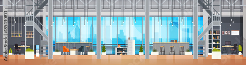 Empty Coworking Office Interior Modern Coworking Center Creative Workplace Environment Horizontal Banner Flat Vector Illustration