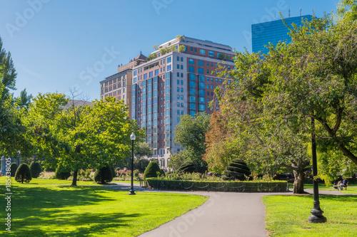 Boston USA Public Garden, Common Frog Pond And City Skyline.