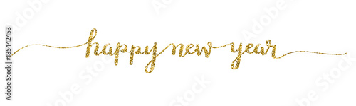 HAPPY NEW YEAR 2018 hand lettered card in gold - 185442453