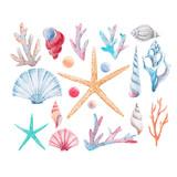 Watercolor coral vector set - 185446684