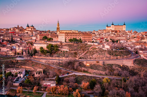 In de dag Lichtroze Panorama of Toledo on the sunset and twilight in Spain, Europe