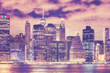 New York City skyline at night, color toned picture, USA. - 185456833