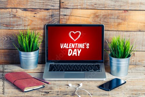 Valentine's day shopping website in a laptop screen.