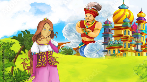 Foto op Aluminium Kasteel cartoon fairy tale scene with beautiful princess near big castle and flying giant sorcerer illustration for children