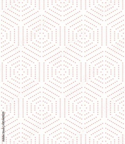 Geometric repeating pink ornament with hexagonal dotted elements. Geometric modern ornament. Seamless abstract modern pattern - 185469829