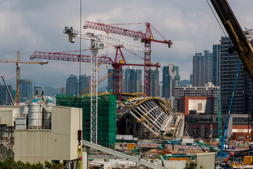 Construction site of West Kowloon Station. It will be the terminus of the Guangzhou–Shenzhen–Hong Kong Express Rail Link (XRL).